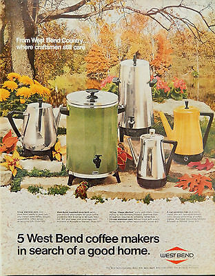 Vintage 1969 West Bend coffee makers advertisement print ad