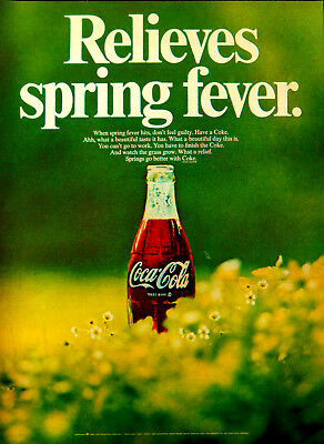Vintage 1969 coke coca cola spring fever flowers advertisement print ad art