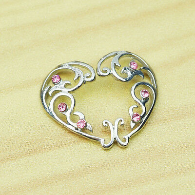 Pair Non-Piercing Clip Heart On Silver Nipple Rings Shields With Pink Crystals