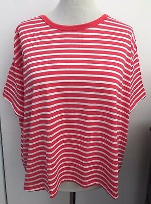 V By Very Coral & Ivory Stripe Short Sleeve Boxy Top Size 18 NWTGS