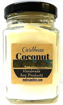 Caribbean Coconut 6oz Victorian Square Glass Jar Soy Candle - Madein Rolla MO
