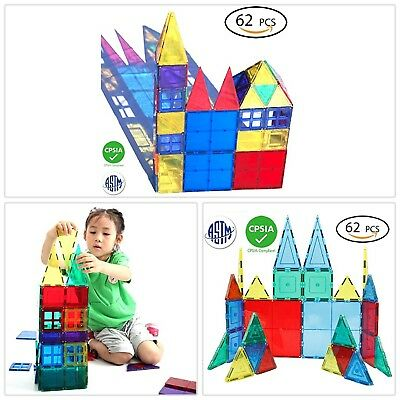 Magnetic Tiles Set 62 Mag Plates Clear 3D Building Blocks 6 Large Play Boards US