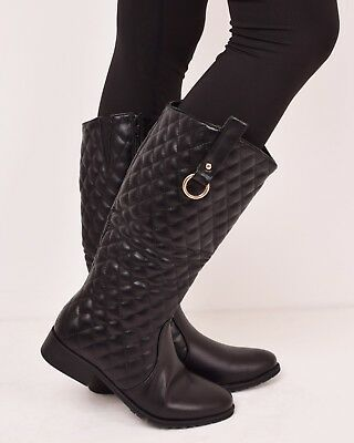 Ladies Womens Winter Warm Quilted Zip Riding Over The Knee Boots Black Size 3