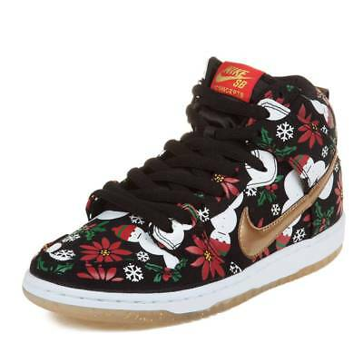 "Nike Mens Dunk High SB PRM CNCPTS ""Ugly Sweater Package"" Black/Metallic Gold Sz8"