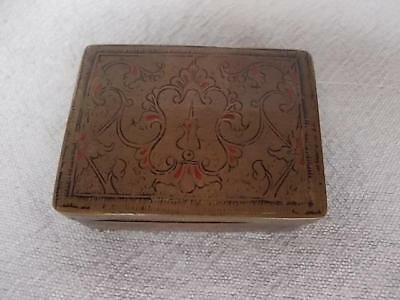 157 / Beautiful Antique Miniature Wood Lined Middle Eastern Brass Box