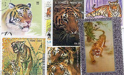 0Lot Stamps Tigers (Felines) : 25 Stamps All Different / Tigers Stamps Felines