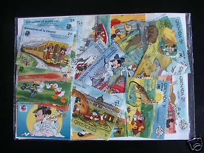 Stamps Walt Disney/ Mickey : 25 Stamps All New And Different / Stamp Disney