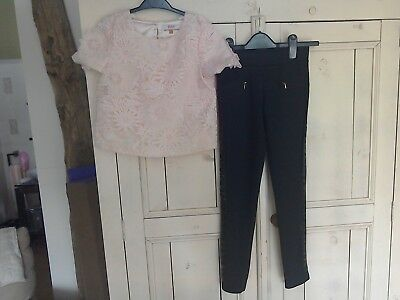 Girl's Top & Trousers Set in Black/Pink by Ted Baker, Age 9