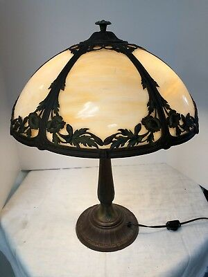 Antique Tiffany Style Table Lamp Carmel Glass Pull Chain/Switch
