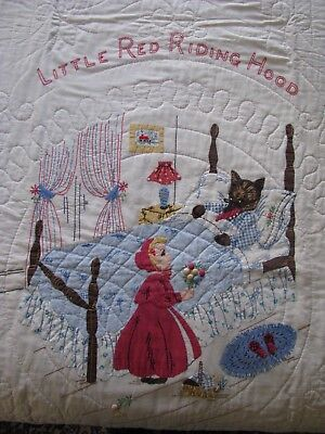 Vintage 30's Little Red Riding Hood Applique Crib Quilt~Best Of Kind Hand Done