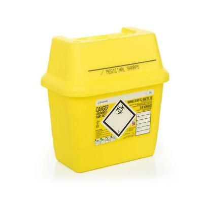 Click Medical Sharps Bin Temporary & Final Closure Feature 3L Yellow Ref CM0644