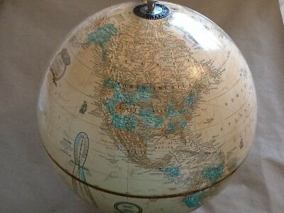 """VINTAGE George F. Cram's Imperial (Gold) 12"""" World Globe with metal base EUC"""