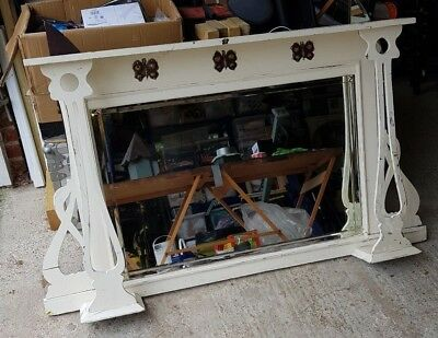 Victorian - Art Nouveau distressed overmantle with bevelled mirror - large