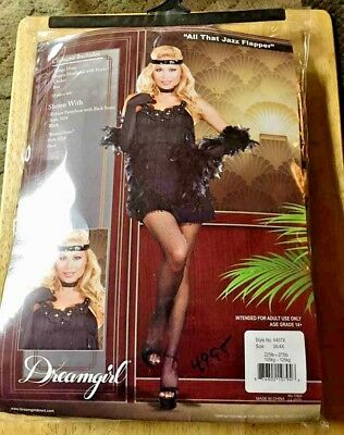 All That Jazz Flapper Costume Size 3X/4X Plus Gloves Dreamgirl Halloween Plus