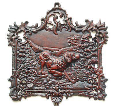 Large Hunting Lodge Cast Iron Dog Plaque Relief Hound Fence Gate Post 21 Pounds