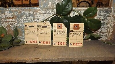 (4) Burlington Route Baggage Tags (1) has .25 stamped on it