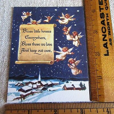 BLUE VTG CHRISTMAS Greeting ANGELS OVER TOWN IN NIGHT SKY STARS  BROWNIE CARD