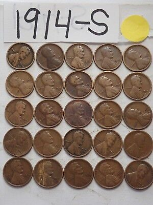 1914-S Solid Date 25 Pennies=Half Roll Of  Lincoln Wheat Cents