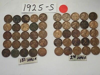 1925-D Solid Date Pennies=Roll 50 Lincoln Wheat Cents