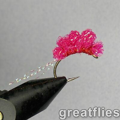 One Dozen Pink Blood Dot Egg size 12 fishing flies N2H 12