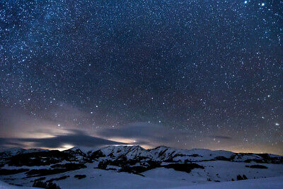 Starry Night Sky Snow Mountains Art Print Wall Decor Unstretched Unframed Canvas