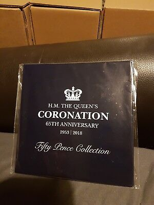 2018 65th Sapphire Anniversary of the BUNC 50p Coronation Coin Collection