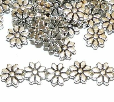 MB782 Antiqued Silver 9mm Pointed Daisy Flower Metal Beads 20pc