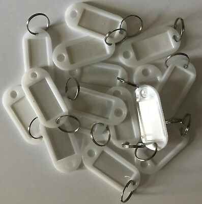 Plastic Key Tags Metal Ring Luggage Card Name Label Keychain White (50 Pack)