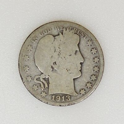 1913-P GOOD/AG Condition Barber Silver Half Dollar Tough Date - I-14910 G