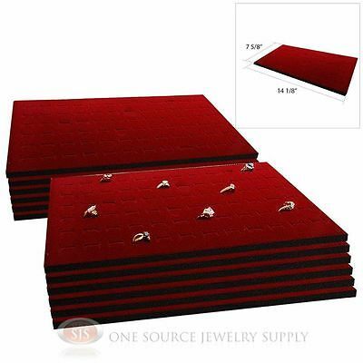 12 Burgundy Ring Dislay Pad Inserts Holds 72 Rings Each Case or Tray Insert