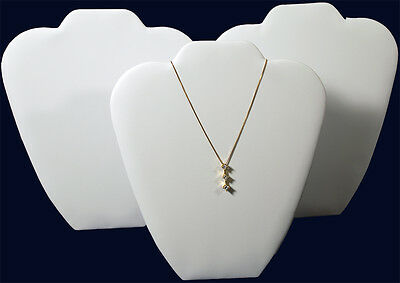 """3 White Leather 9"""" Chain Pendant Necklace Counter-Top Jewelry Displays"""