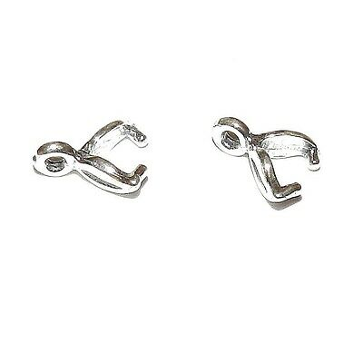 M637 Leaf .925 Sterling Silver 5mm Ice-Pick Pinch Prong Bail Connector 2pc
