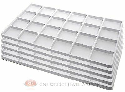 5 White Insert Tray Liners W/ 24 Compartments Drawer Organize Jewelry Displays