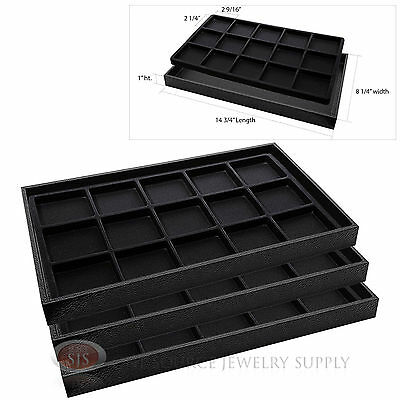 3 Wooden Sample Display Trays 3 Divided 15 Compartment Black Tray Liner Inserts