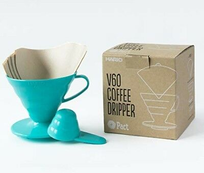 Hario V60 Teal Coffee Dripper Kit - Plastic V60 Size 02, 40 Unbleached Filter Pa