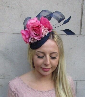 Navy Hot Blush Light Pink Flower Feather Hat Fascinator Races Wedding Hair 6389
