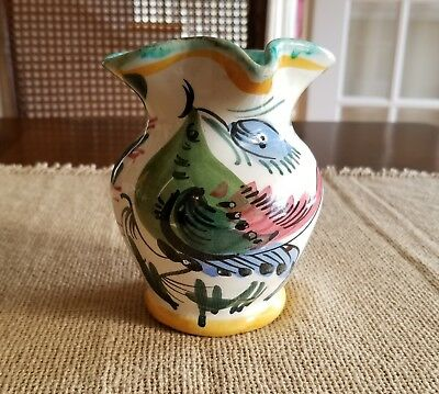 Vintage, Colorful Hand-Painted Pottery Creamer Made in Italy