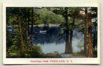 Greetings From Portland NEW YORK *OLD NONLINEN WATER VIEW*