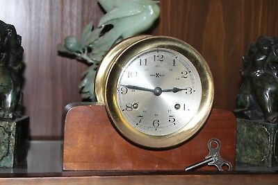 Vtg Howard Miller Brass Ships w/ Chimes Wind-Up German Bell Clock w/Key & Stand