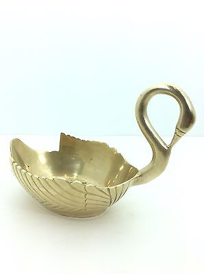 Vintage Solid Brass Swan Soap Dish, Bowl, Planter Heavy Beautiful Collectable