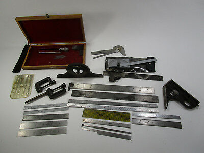 Vintage lot of lss starrett craftsman and general machinists rules levels tools