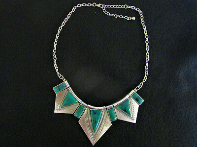Vintage Art Deco Egyptian Style Silver & Turquoise Choker Necklace