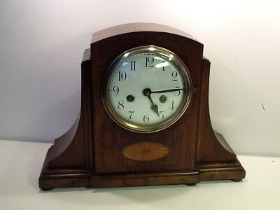 Edwardian Inlay Oak Cased Twin Train 'Deco esq Clock, numerical enamel Dial