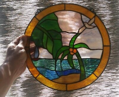 Antique Stained Glass Suncatcher Vintage Wall Hanging Decor Large 60's to 70's