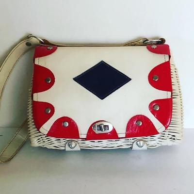 Vintage 1950's 1960's White Wicker Handbag Red White + Blue Purse Faux Leather