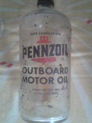 Antique Pennzoil Glass Outboard Motor oil bottle, Very Rare!!!