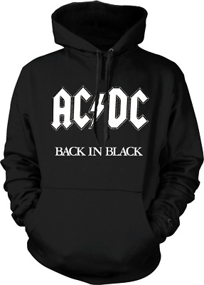 AC/DC Back in Black Hoodie Graphic Novelty Punk Rock acdc Band Sweater NEW