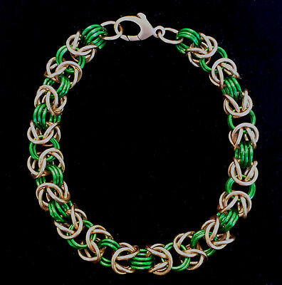 Chainmaille Green and Bronze Byzantine Bracelet. 7 Inches.