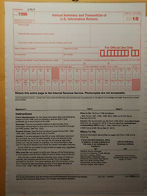 3 IRS Tax Forms 1096 Annual Summary & Transmittal (Go with MISC 1099) Year 2018