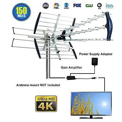 Outdoor Amplified Antenna Digital HD TV 180M 360 Rotor UHF/VHF/FM HDTV 1080P US